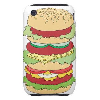 triple decker cheeseburger burger graphic tough iPhone 3 covers