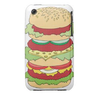 triple decker cheeseburger burger graphic iPhone 3 covers