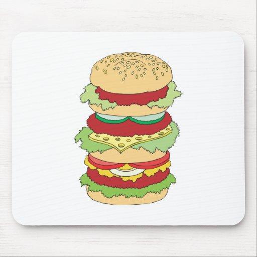 triple decker hamburger mouse pad