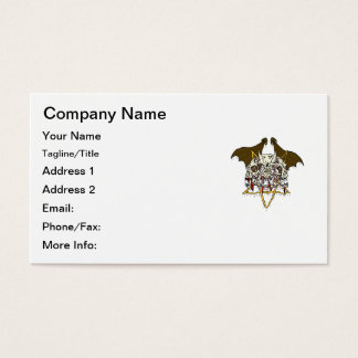 Triple Demon Skull with Bat Wings and Pentacle Business Card