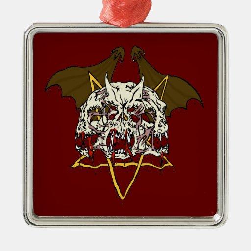 Triple Demon Skull with Bat Wings and Pentacle Metal Ornament