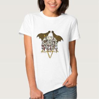 Triple Demon Skull with Bat Wings and Pentacle Shirt