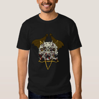 Triple Demon Skull with Bat Wings and Pentacle T-shirt