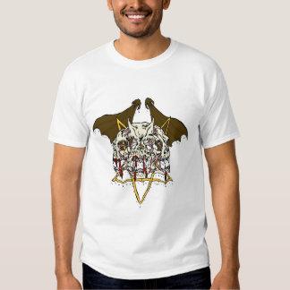 Triple Demon Skull with Bat Wings and Pentacle Tee Shirt