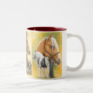 Triple Draft Horses Two-Tone Coffee Mug