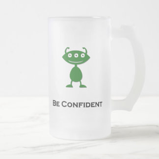Triple Eye Be Confident green Frosted Glass Beer Mug
