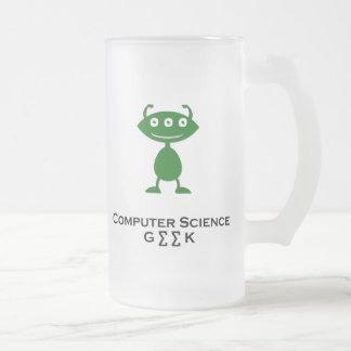 Triple Eye Computer Science Geek green Frosted Glass Beer Mug