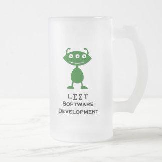 Triple Eye Leet Software Development green Frosted Glass Beer Mug