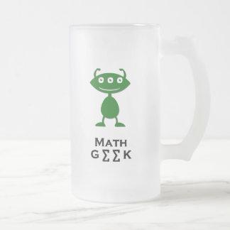 Triple Eye Math Geek green Frosted Glass Beer Mug