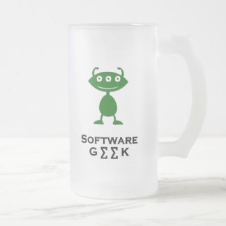 Triple Eye Software Geek green Frosted Glass Beer Mug