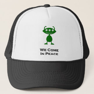 Triple Eye We Come In Peace green Trucker Hat