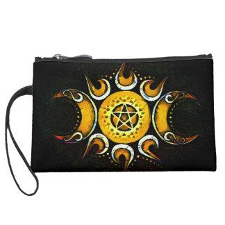 Triple Goddess Crowned - Dark Suede Wristlet Wallet