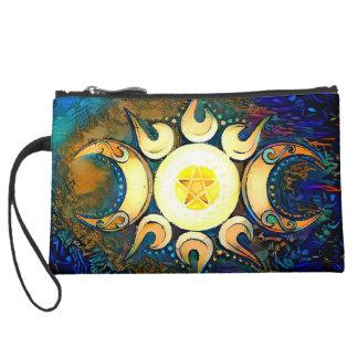 Triple Goddess Crowned - Divine Union Suede Wristlet Wallet