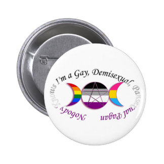 Triple Goddess Gay Demi Pansexual Pagan Pride Button