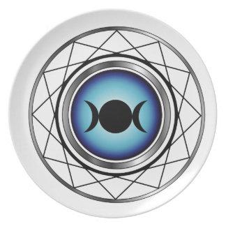 Triple goddess moon symbol party plate