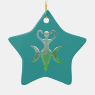 Triple Goddess Double-Sided Star Ceramic Christmas Ornament