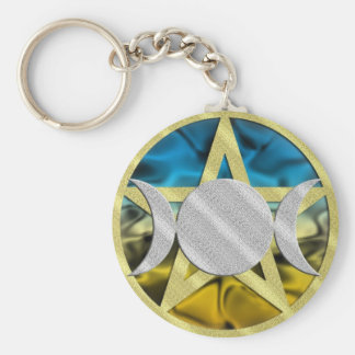 Triple Goddess Pentacle Keychain