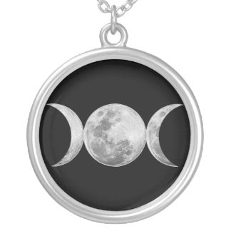 Triple Goddess Round Pendant Necklace