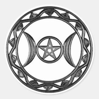 Triple Goddess with Pentagram Classic Round Sticker