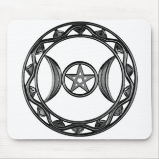 Triple Goddess with Pentagram Mousepads