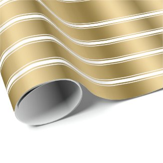 Triple Gold And White Stripes Pattern Wrapping Paper