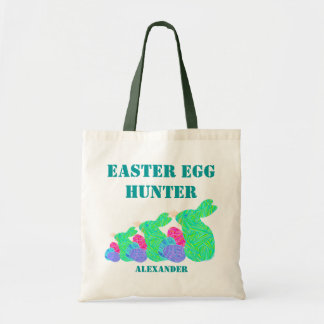 Triple Green Easter Bunny Easter Egg Hunter Bag