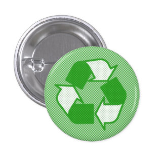 triple green halftone recycle logo 1 inch round button