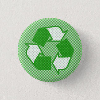 triple green halftone recycle logo button