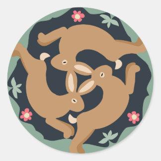 Triple Hare Classic Round Sticker
