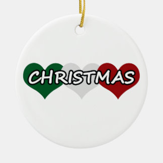 Triple Heart Christmas Ceramic Ornament