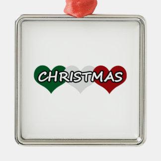Triple Heart Christmas Metal Ornament