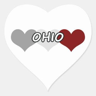 Triple Heart Ohio Heart Sticker