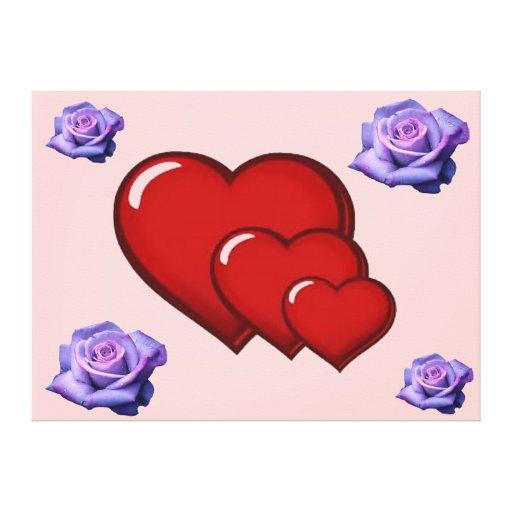 triple heart-single rose canvas print