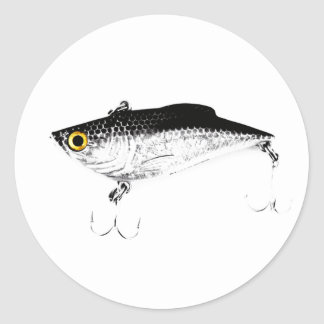 Triple Hooks Minnow Fishing Lure Classic Round Sticker