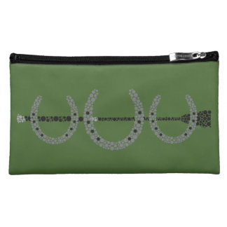 Triple Horse Shoe Cosmetics Case HUNTER GREEN