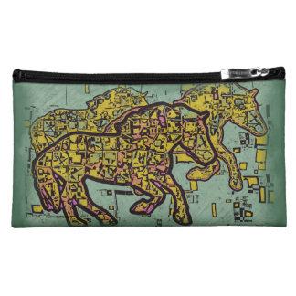 TRIPLE HORSE SQUARED MAKEUP BAGS