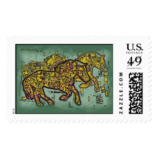 TRIPLE HORSE SQUARED POSTAGE STAMPS
