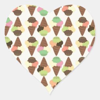 triple icecream pattern heart sticker