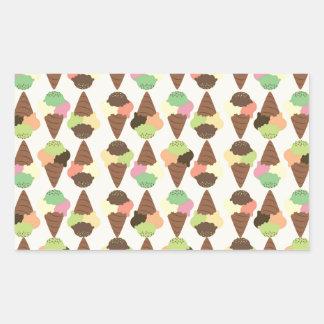 triple icecream pattern rectangular sticker