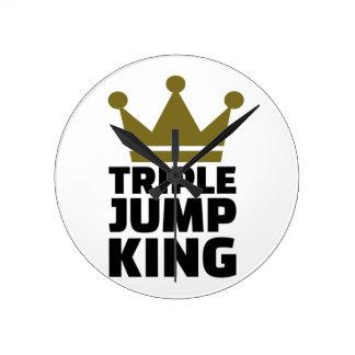 Triple jump king round wall clock