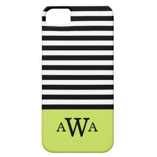 Triple Letter Monogram Green Black White Stripes iPhone SE/5/5s Case