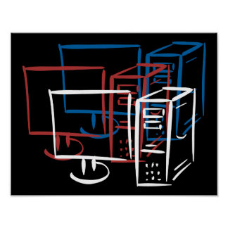 Triple minimalism red white blue computers poster