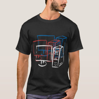 Triple minimalism red white blue computers T-Shirt