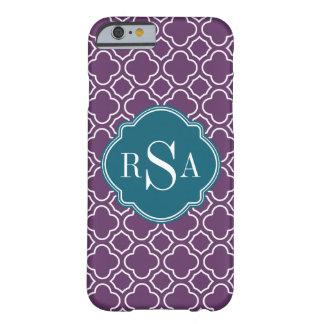 Triple Monogram Blue Purple Quatrefoil Pattern Barely There iPhone 6 Case