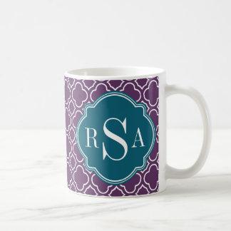 Triple Monogram Blue Purple Quatrefoil Pattern Coffee Mug