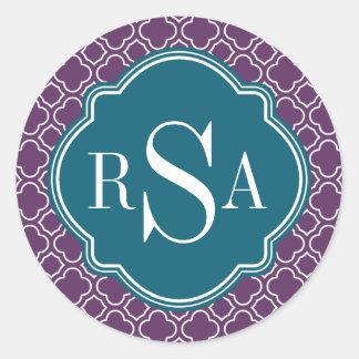 Triple Monogram Blue Purple Quatrefoil Pattern Round Stickers