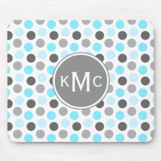 Triple Monogram Tiffany Blue Gray Dots Mouse Pad