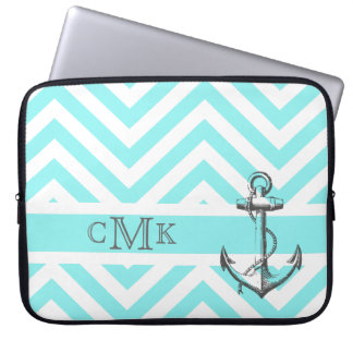 Triple Monogrammed Anchor & Blue Zigzags Laptop Sleeve