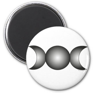 Triple Moon - black gradient 2 Inch Round Magnet