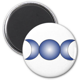 Triple Moon - blue gradient 2 Inch Round Magnet